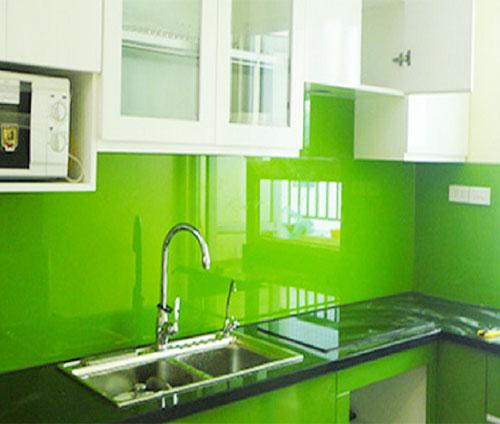 kính màu ốp bếp xanh lá