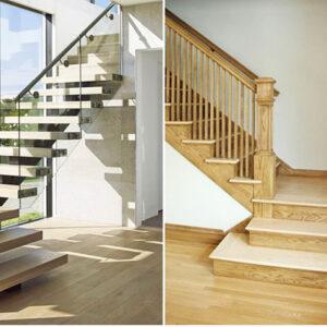 cầu thang kính hay cầu thang gỗ